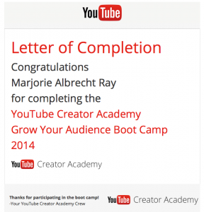 "YouTube ""Grow Your Audience Boot Camp"" letter of completion"
