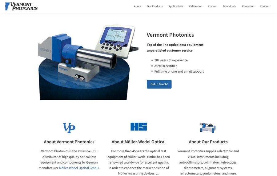 Vermont Photonics Website Rebuild